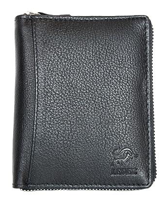 ddfbd541cc863 Herren Schwarzes Leder Portemonnaie - Geldbörse Bull Leder mit Reißverschluss  um