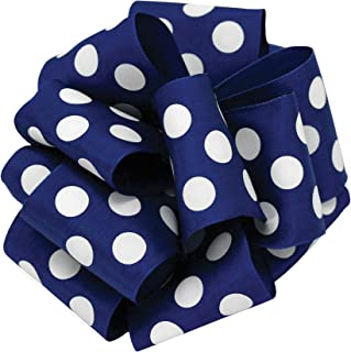 product image for Offray Wired Edge Ringleader Dots Craft Ribbon, 1-1/2-Inch Wide by 10-Yard Spool, Royal/White
