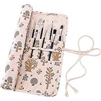 Amoyie trousse à crayon enroulable pour pinceaux de peinture, sacs organiseurs de toile, enveloppe de crayon porte-brosses pochettes rouleaux