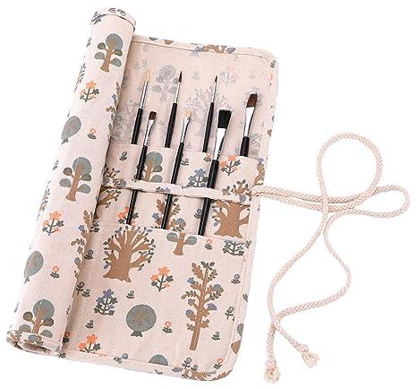 Amoyie - Porta pennelli arrorolabile, raccoglitori pennelli de
