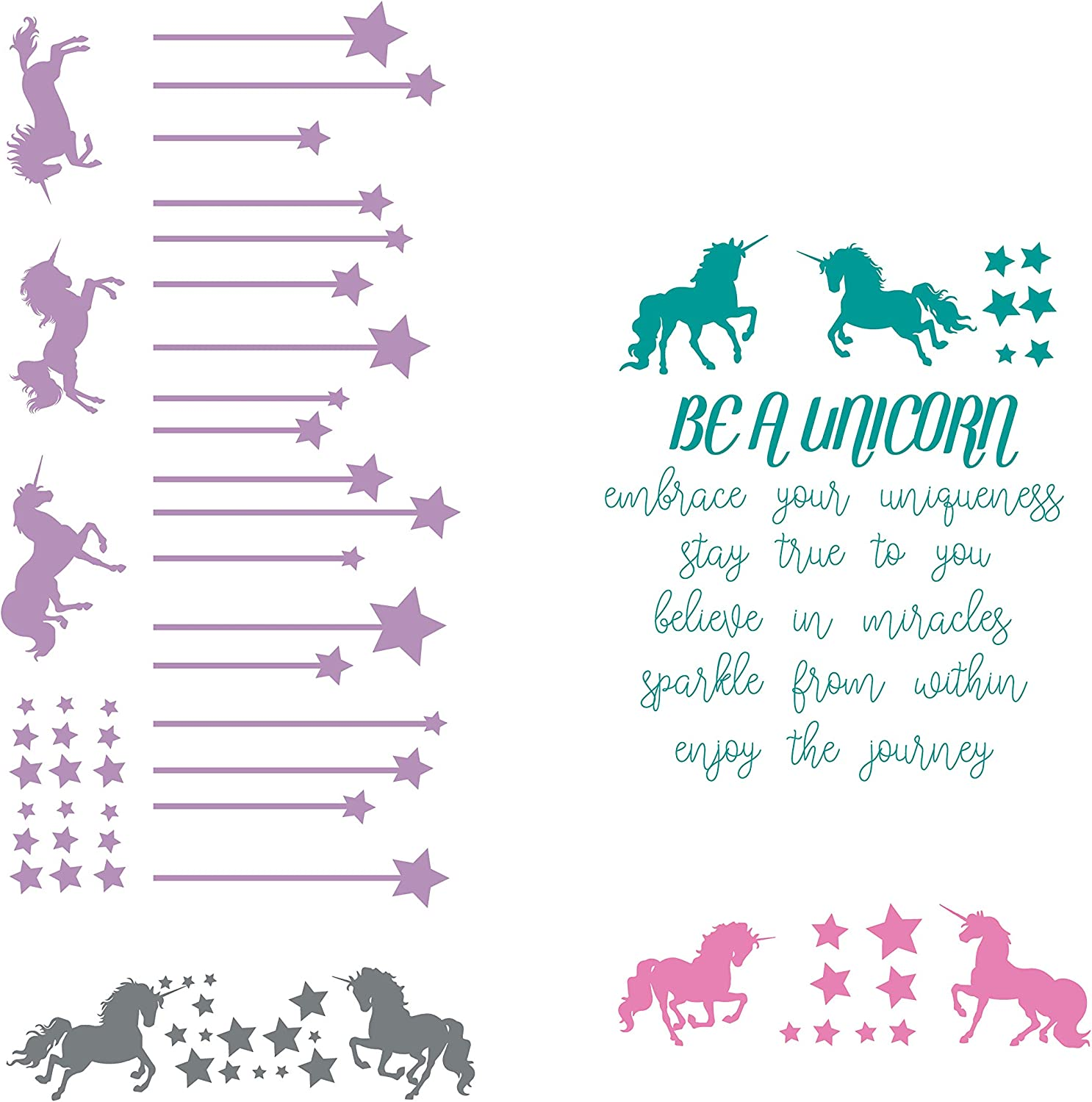 CustomVinylDecor Unicorn Full Wall Mural | Be a Unicorn, Embrace Your Uniqueness, Stay True to You, Believe in Miracles Quote with Unicorns and Stars Home Decor Sticker for Girls