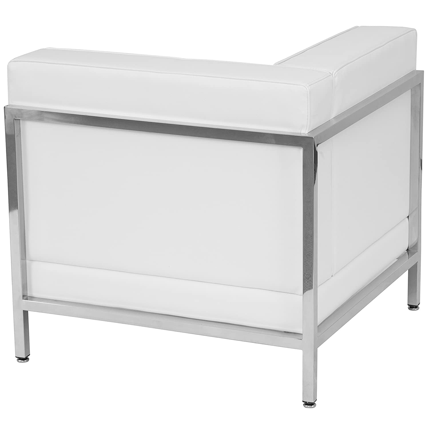 Flash Furniture HERCULES Imagination Series Contemporary Melrose White Leather Left Corner Chair with Encasing Frame