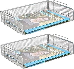 Mind Reader DSTACK2-SIL, Side Load, Stackable Letter Legal, Tray Mesh Desk, Document Holder, Magazine Storage, Desktop File Organizer, Silver 2 Piece