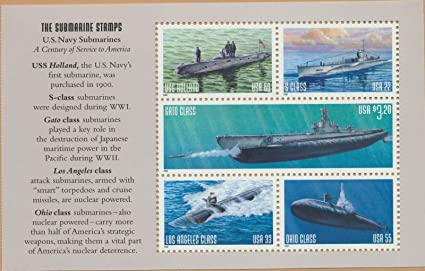 U.S. Navy Submarines, Full Pane of 5 Postage Stamps, USA 2000, Scott 3373
