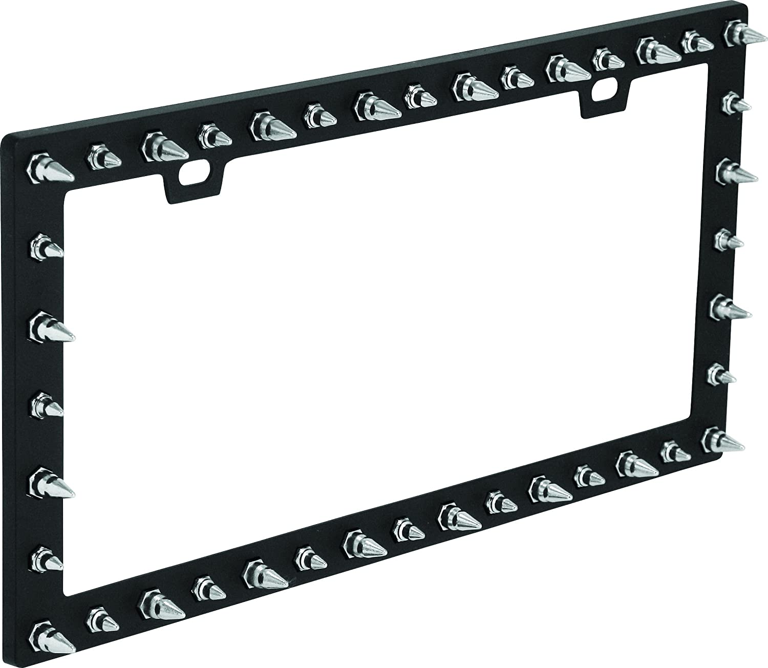 Bell Automotive 22-1-46117-8 Universal Chrome Spike Design License Plate Frame