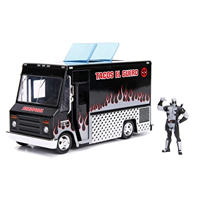 "Jada Toys Marvel Deadpool & Taco Truck Die-cast Car, 1:24 Scale Vehicle, 2.75"" Collectible Figurine 100% Metal, Black: Toys & Games"