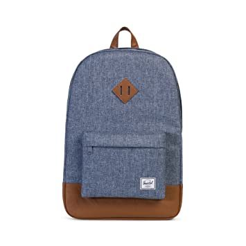 Image Unavailable. Image not available for. Color  Herschel Heritage  Backpack-Dark Chambray Crosshatch Tan Synthetic Leather 62240a557bec7
