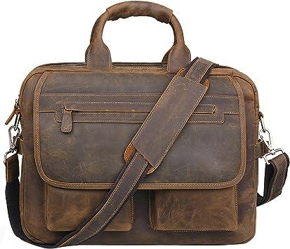 Jack/&Chris Men/'s Handmade Leather Briefcase Laptop Bag Messenger Shoulder Bag...
