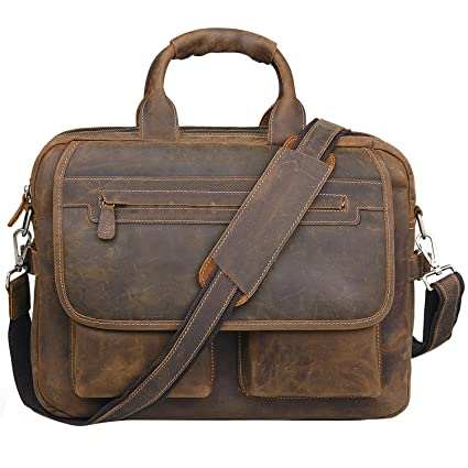 ca957a7a3cb Amazon.com  Jack Chris Men s Handmade Leather Briefcase Laptop Bag ...