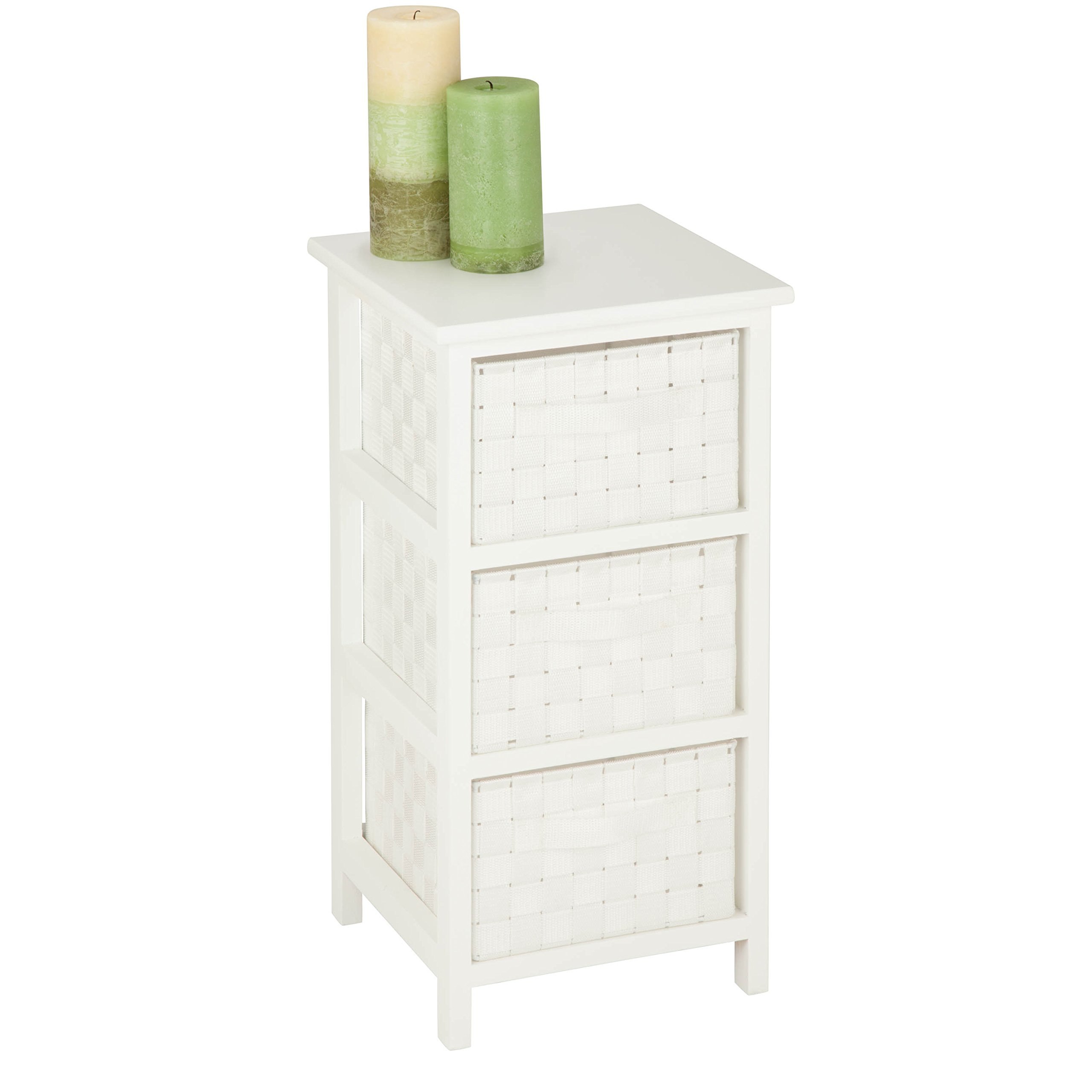 Honey-Can-Do OFC-03717 3-Drawer Storage Organizer Chest with Natural Wood Frame, White, 12.01L x 24.80H