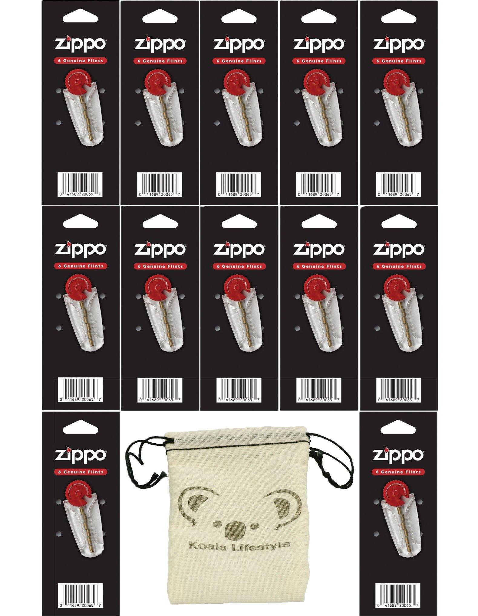 Zippo 12 Flint Dispensers (72 Flints Total) Lighter Replacement Set Pack | 12pk Bundle + Pouch