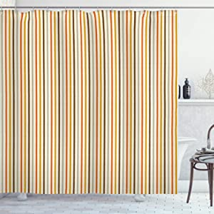 "Ambesonne Vintage Shower Curtain, Retro Nostalgic 60s 70s Fashion Stripes Vertical Pattern Vintage, Cloth Fabric Bathroom Decor Set with Hooks, 70"" Long, Mustard Orange"