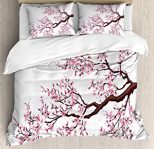 Light Pink Black White Artistic Sakura Branch with Cherry Flowers Tender Japanese Spring Light Pink King Size Duvet Cover Set by Ambesonne Decorative 3 Piece Bedding Set with 2 Pillow Shams