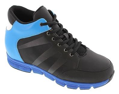 X32902 Toto - Magasin 8,4 Cm - Chaussures D'ascenseur Augmentation De La Hauteur - Chaussures De Sport Noir Et Bleu Lumière, Couleur Noire, Taille 41 Eu
