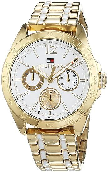Reloj para mujer Tommy Hilfiger 1781665, mecanismo de cuarzo, diseño con varias esferas, correa chapada en oro.: Amazon.es: Relojes