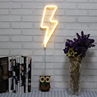 Neon Light Lightning Bolt LED Sign Battery Operated and USB Powered Warm White Art LED Decorative Lights Wall Decor for Living Room Office Christmas Wedding Party Decoration(NELNB)