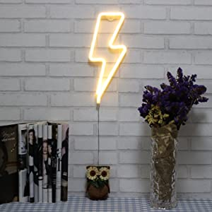 Neon Signs Lightning Bolt Battery Operated and USB Powered Warm White Art LED Decorative Lights Wall Decor for Living Room Office Christmas Wedding Party Decoration(NELNB)