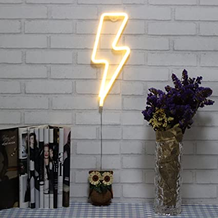 Neon Signs Lightning Bolt Battery Operated and USB Powered Warm ...