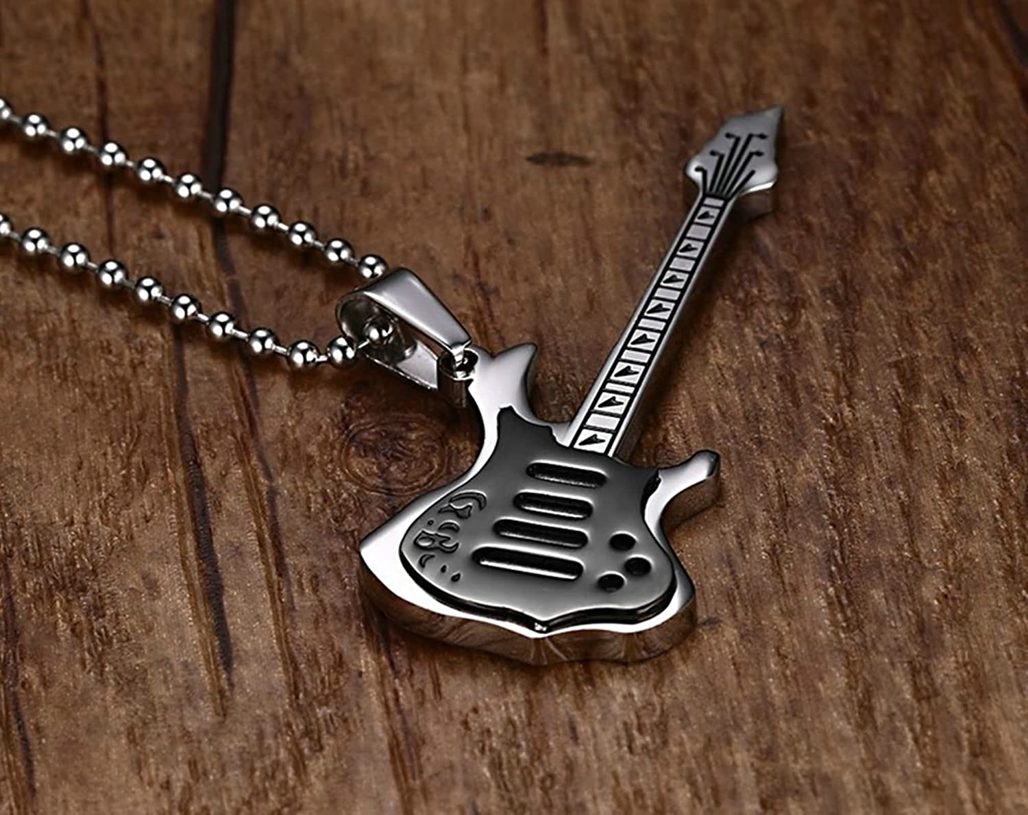 Aooaz Jewelry Stainless Steel Necklace Women Men Chain Guitar Pendant Necklace