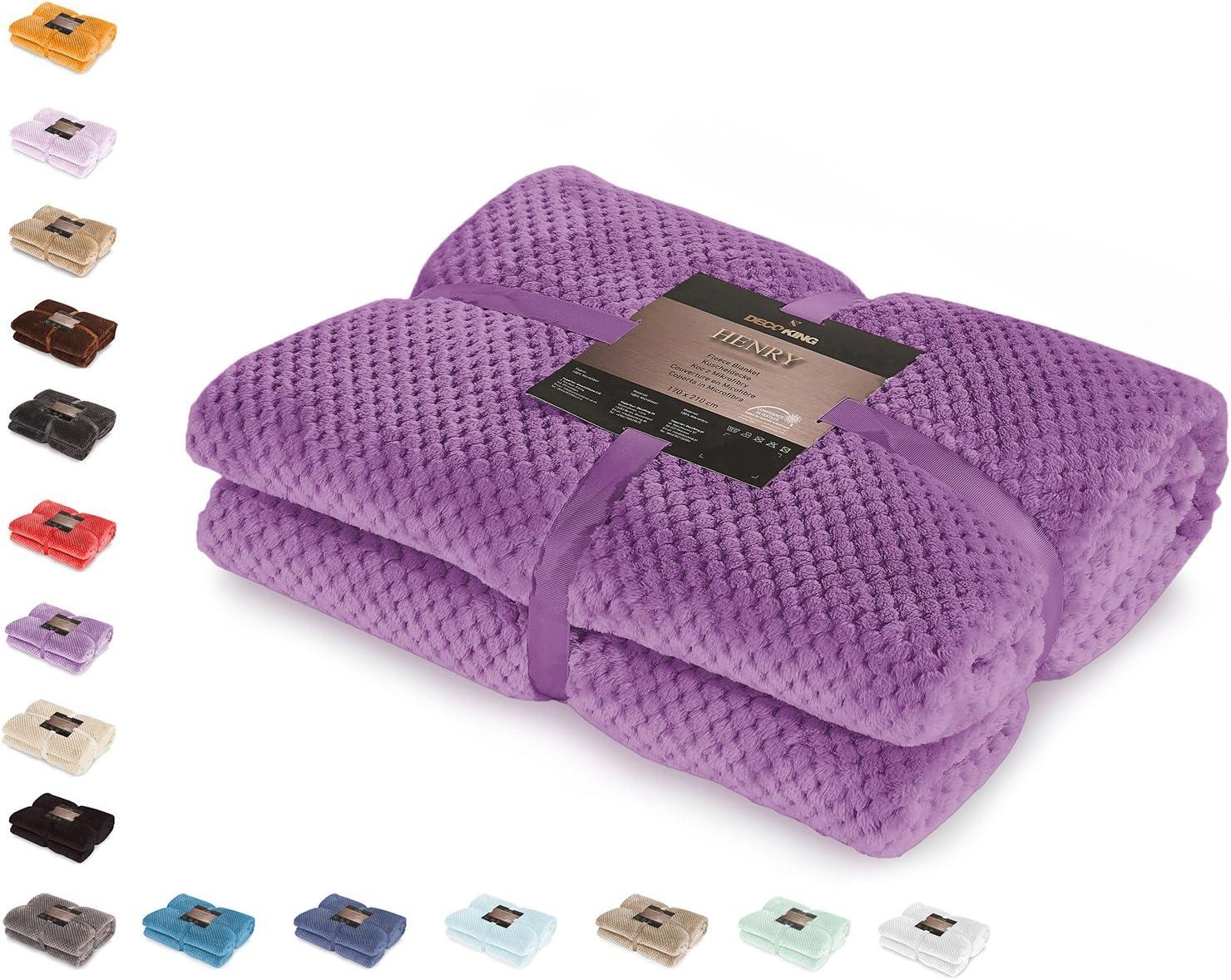 DecoKing 66133 Kuscheldecke 70x150 cm Violett Decke Microfaser Wohndecke Tagesdecke Fleece weich sanft kuschelig skandinavischer Stil Lila Henry