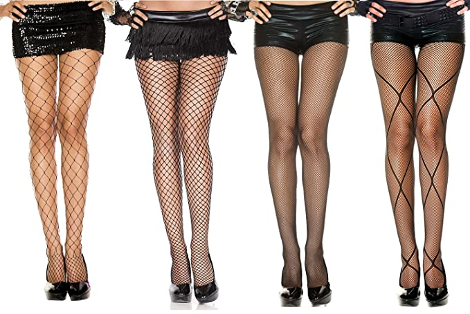89c9704d9e797 Image Unavailable. Image not available for. Color: 4-Pack of Black Fishnet  Diamond Stocking Small to Large Mesh Net Pantyhose