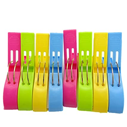 honbay 8 pcs toalla de playa Clips en colores brillantes para silla de playa o piscina