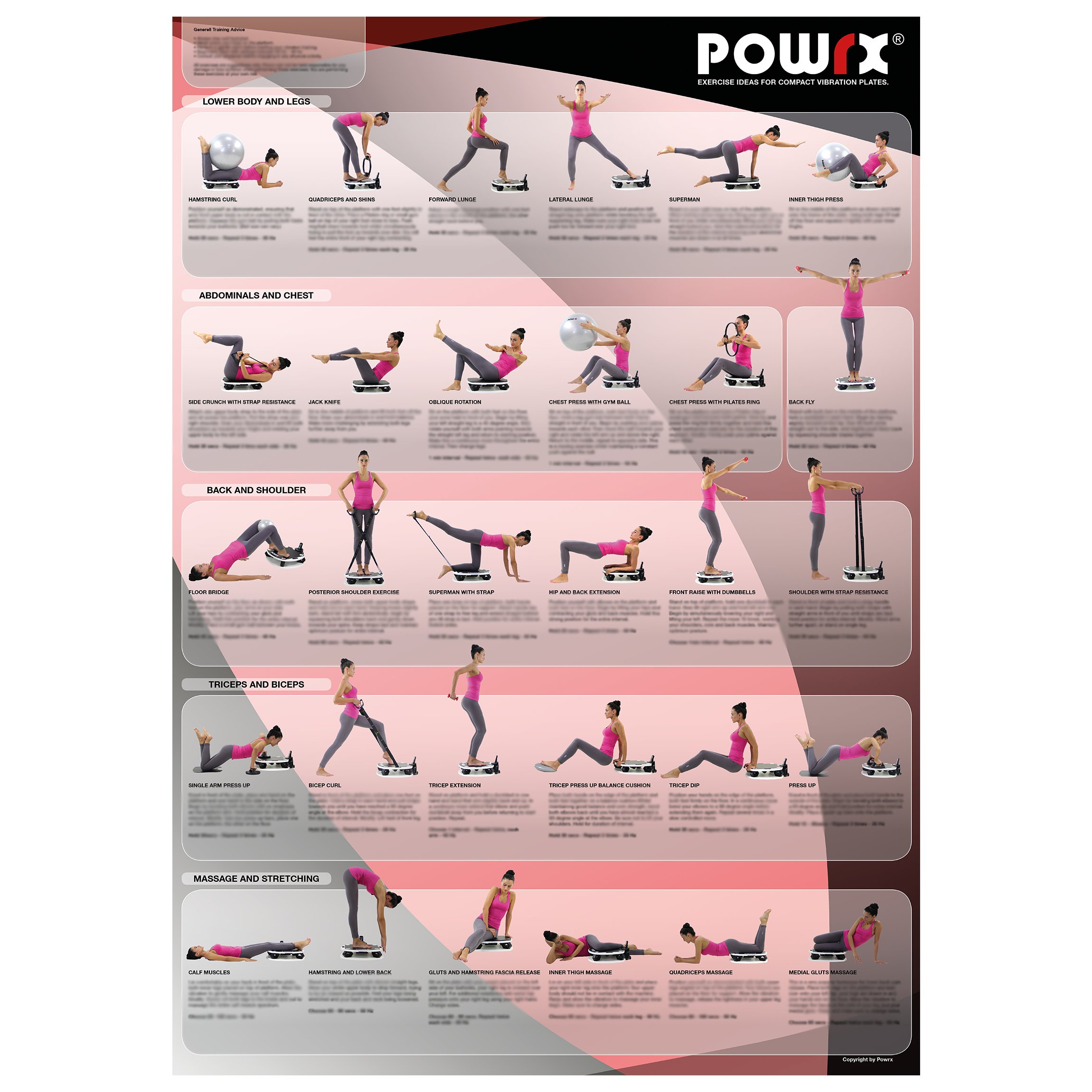 Whole Body Vibration Training Chart for Portable Vibration Fitness Machines, Now with online video support.