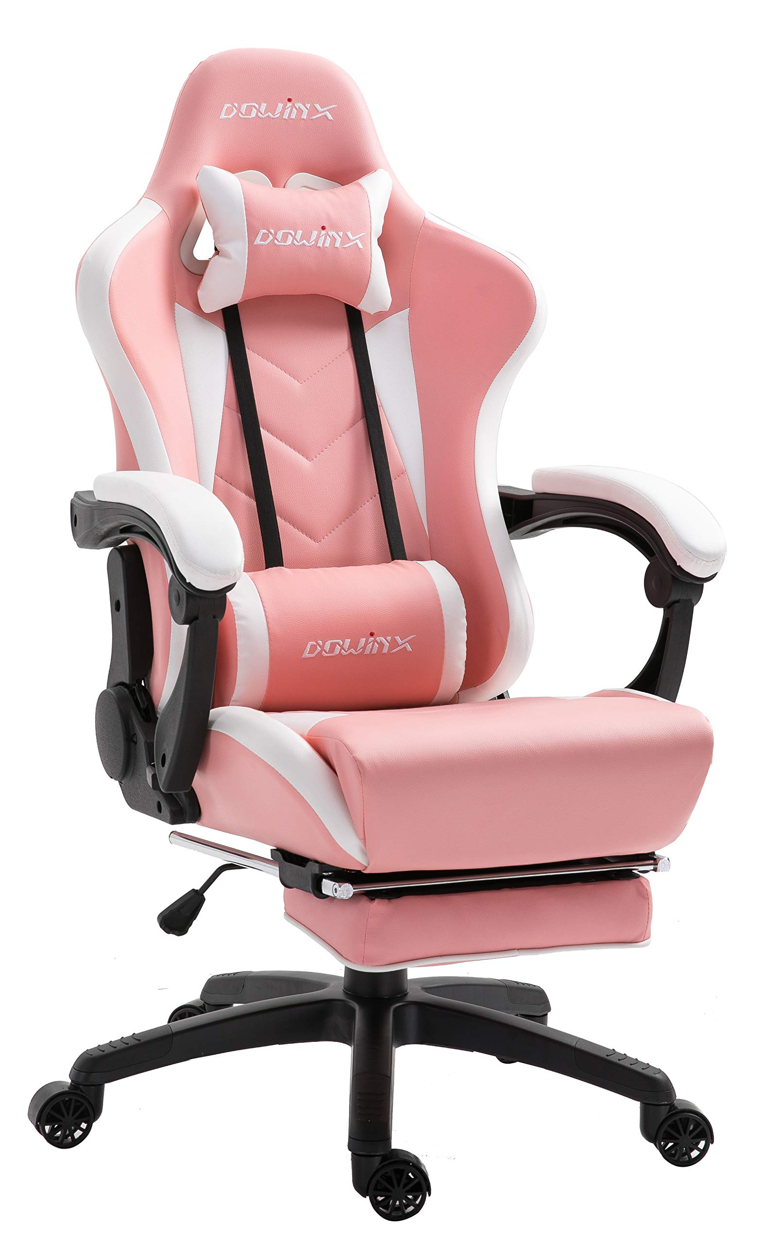 Dowinx Gaming Chair Ergonomic Racing Style Recliner with Massage Lumbar Support, Office Armchair for Computer PU Leather E-Sports Gamer Chairs with Retractable Footrest (White&Pink) by Dowinx