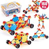 GARUNK STEM Leaning Toys, 160 Pieces Educational Construction Engineering Building Blocks Learning Set for Ages 3 4 5 6 7 8 9 10 Year Old Boys & Girls with Storage Box, Creative Games & Fun Activity