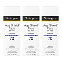 Neutrogena Age Shield Face Oil-Free Sunscreen Lotion with Broad Spectrum SPF 70, Non-Comedogenic Moisturizing Sunscreen to Help Prevent Signs of Aging, PABA-Free, 3 fl. oz (Pack of 3)