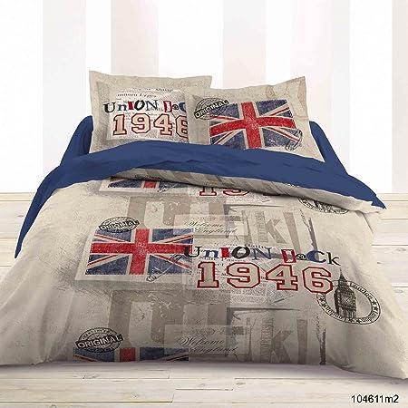 Parure De Lit Housse De Couette Double 220x240 Londres London 100 Coton Amazon Fr Cuisine Maison
