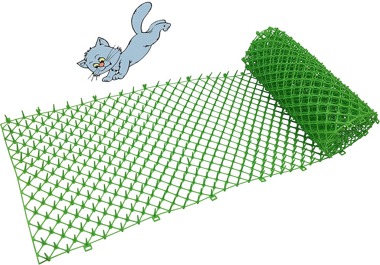 Home-Garden Cat scat mat Plastic net Green 11.8 inch 1pcs