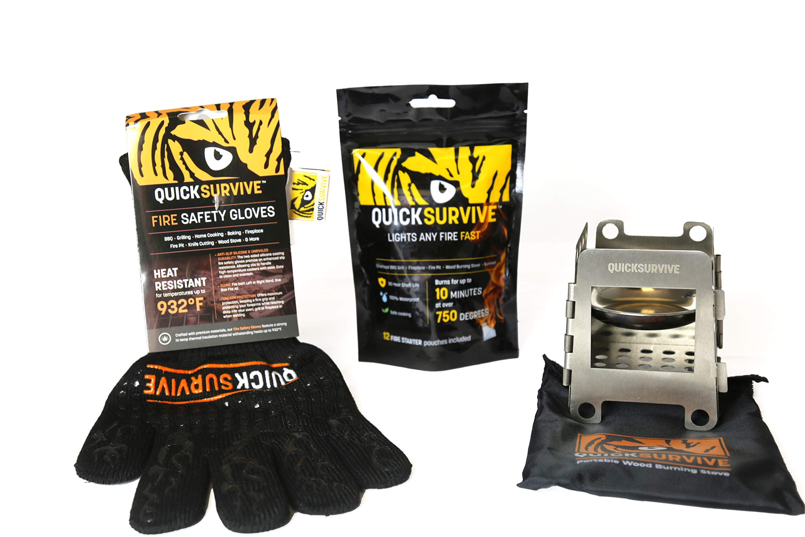 QUICKSURVIVE Mini Survival Wood Burning Stove, 12 Pack All Purpose Fire Starters and Heat Resistant Fire Safety Glove by QUICKSURVIVE