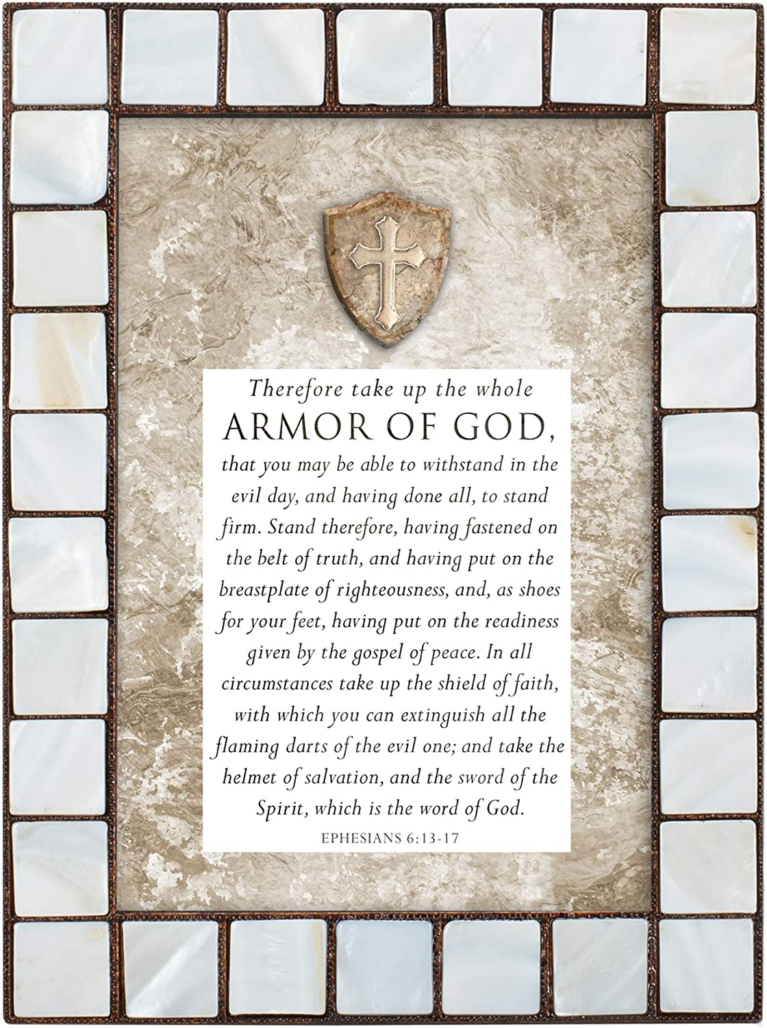 Cottage Garden Amor of God Mother of Pearl Amber 5 x 7 Table Top and Wall Photo Frame