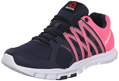 reebok yourflex trainette. reebok women\u0027s yourflex trainette 8.0l mt training shoe, collegiate navy/solar pink/ u