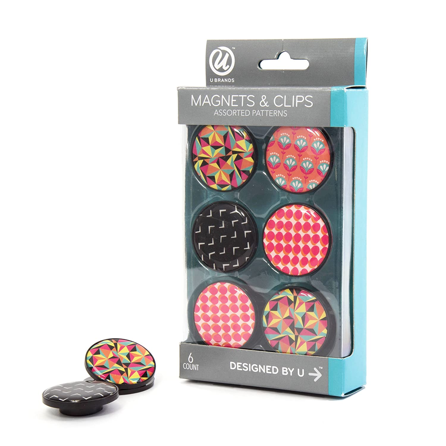 U Brands 235U06-24 Magnets and Magnetic Clips, 1-1/4-Inch Diameter, Pop Spring Fashion Colors, 6-Count