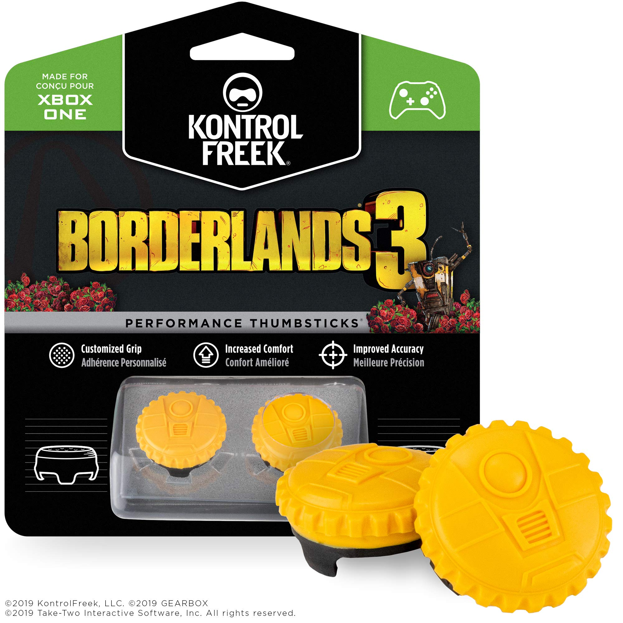 KontrolFreek Borderlands® 3 Claptrap Performance Thumbsticks for Xbox One | 2 Mid-Rise Convex Thumbsticks | Yellow