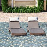 Top Space Chaise Lounge Outdoor Brown Adjustable Wicker Chairs All-Weather Woven Patio Lounger Chair Set (2 Pcs, Brown)