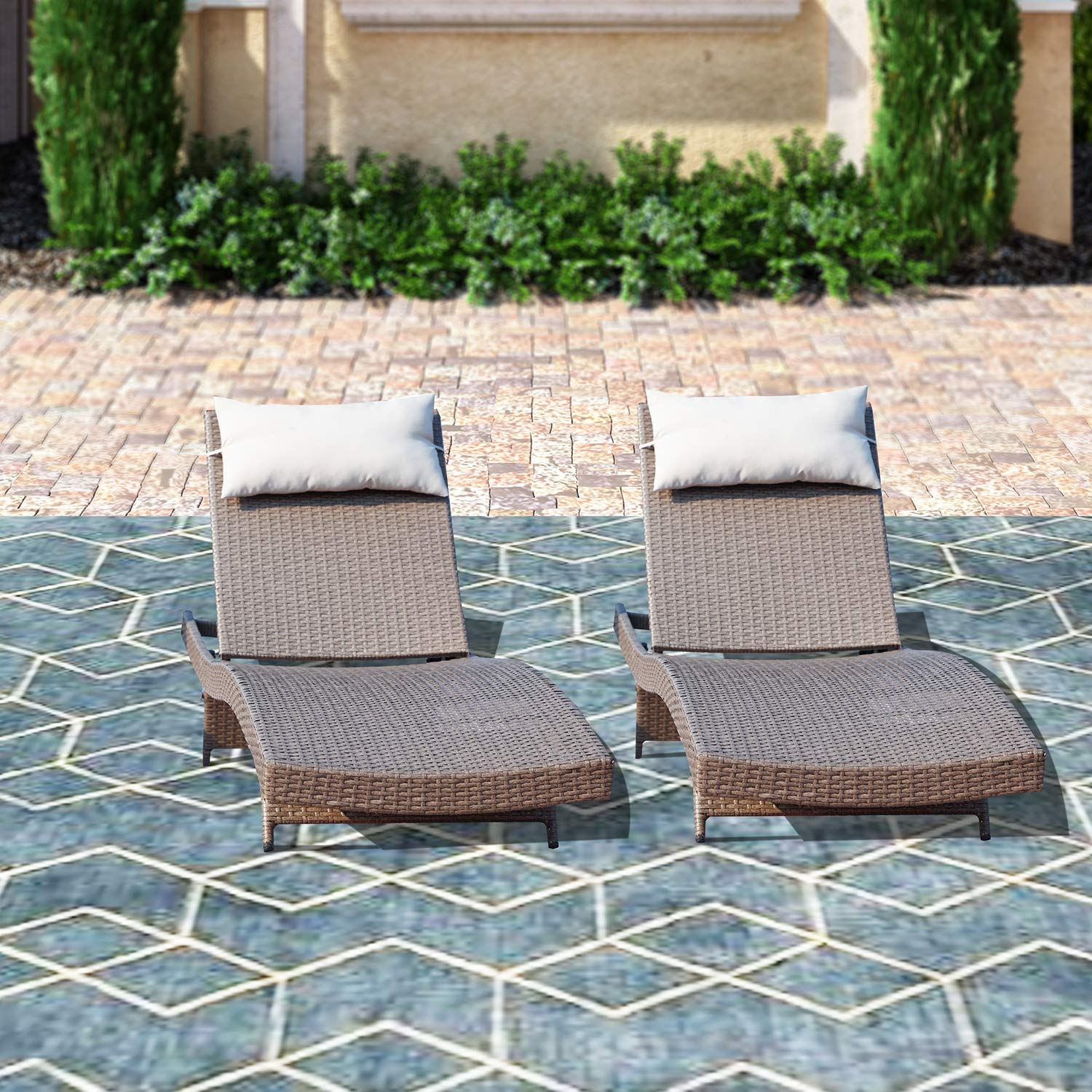 Top Space Chaise Lounge Outdoor Brown Adjustable Wicker Chairs All-Weather Woven Patio Lounger Chair Set (2 Pcs, Brown) by Top Space