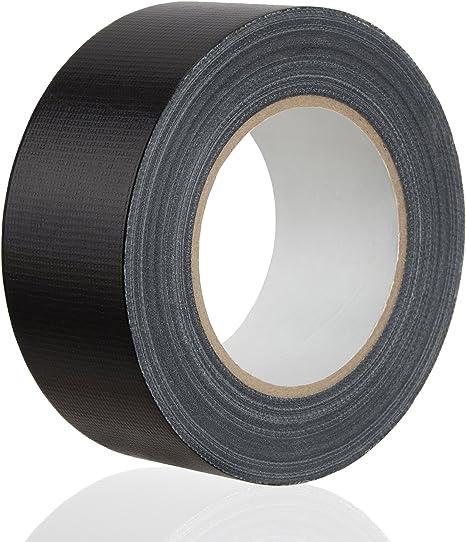 MAXKO cinta americana, fuerte, negra, 50 m x 50 mm/cinta adhesiva de tela reforzada/cinta de ductos/cinta gran poder adhesivo: Amazon.es: Bricolaje y herramientas