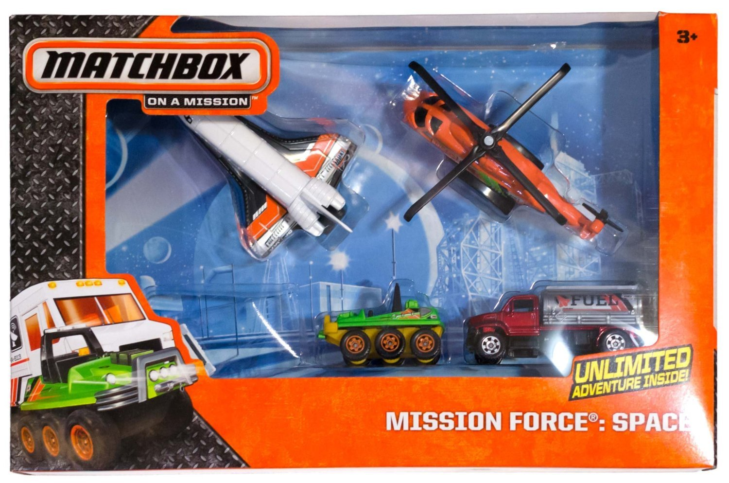 Matchbox Mission Force Space 5 Pack Helicopter Fuel Truck Star Shuttle ATV Deliv