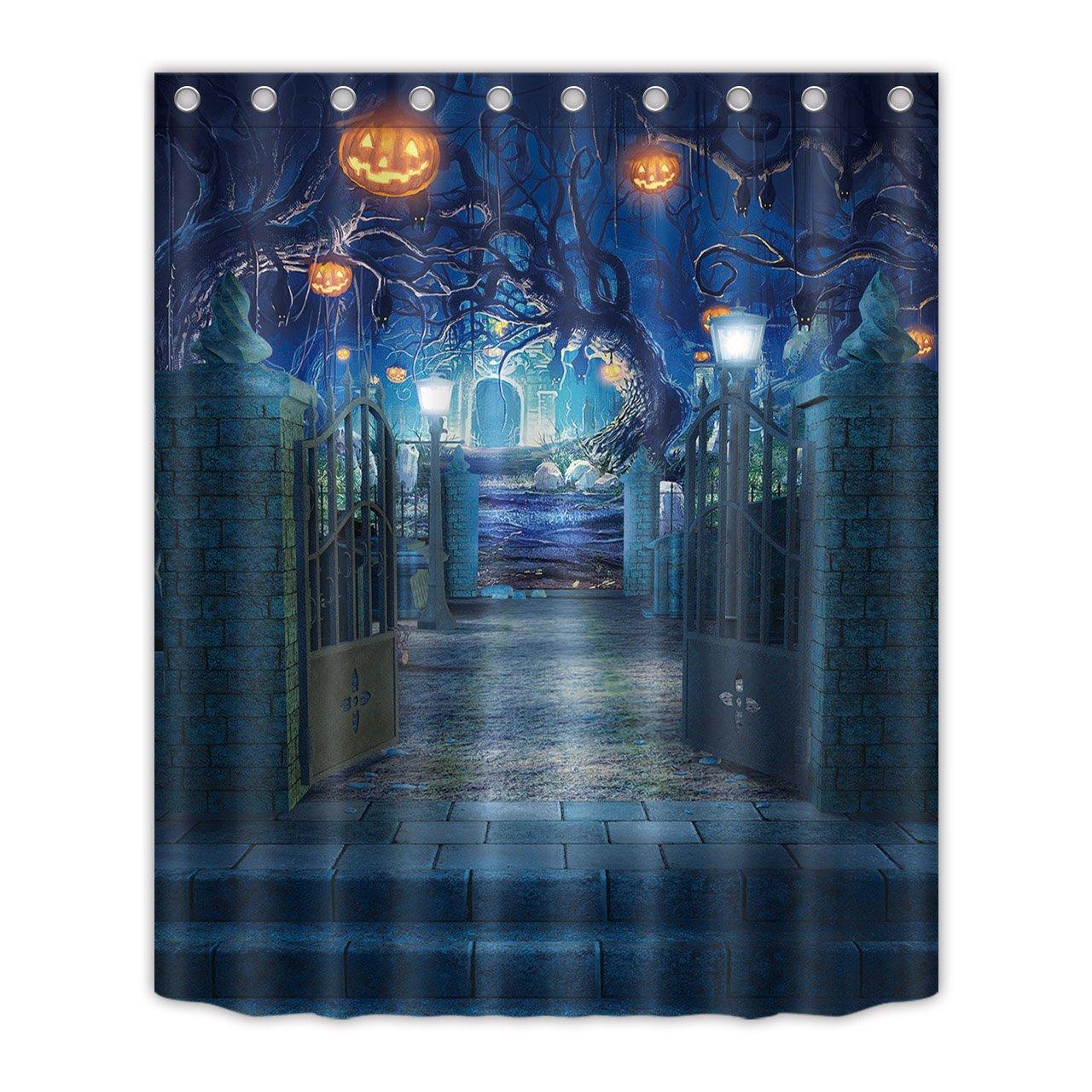 LB Decorations Shower Curtain Set, Halloween Pumpkin Decor Bath Curtain 60x72 inch Polyester Fabric Bathroom Curtains Hooks Anti Bacterial Waterproof