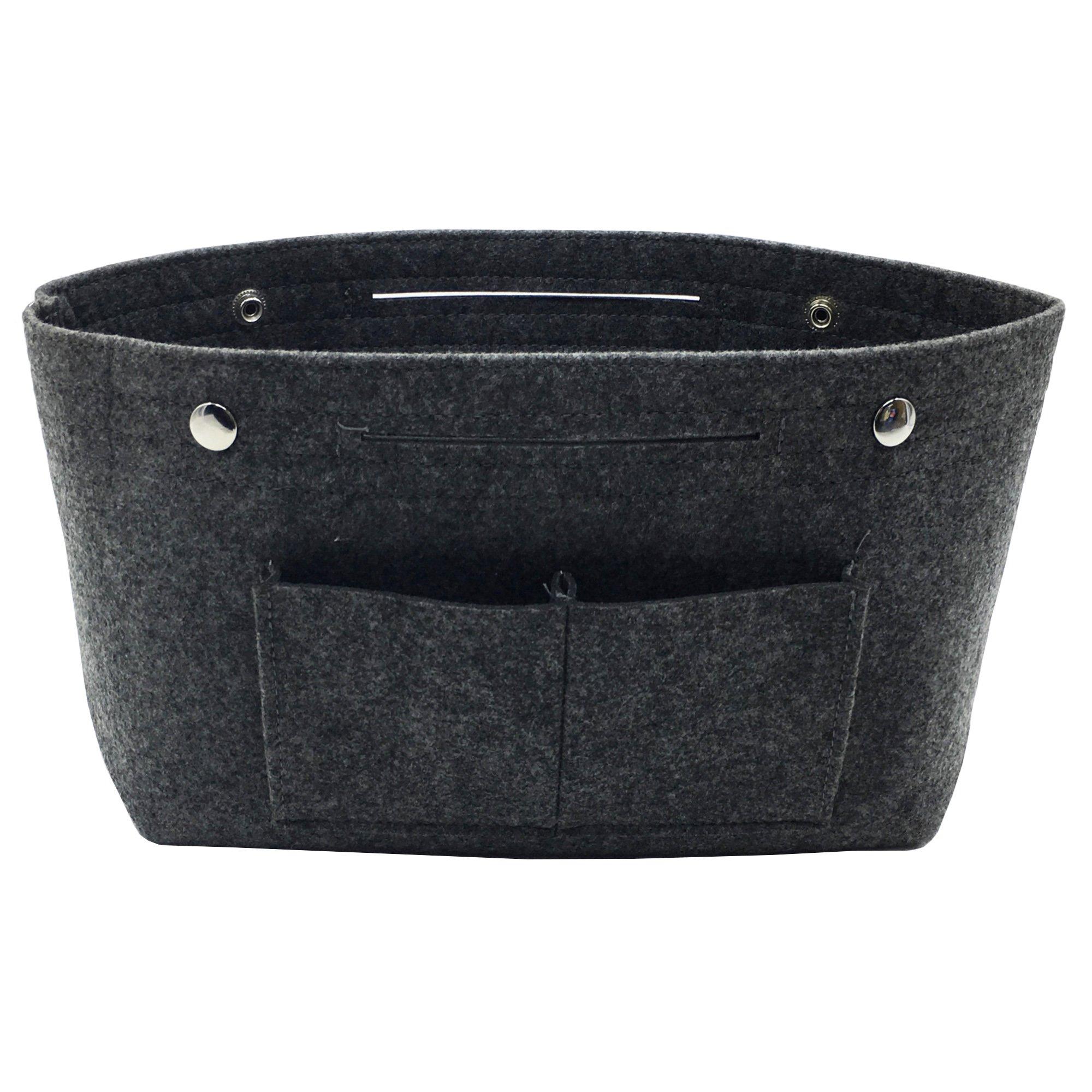 VANCORE Felt Insert Purse Organizer Handbag Cosmetic Travel Bag for Women Dark grey Small