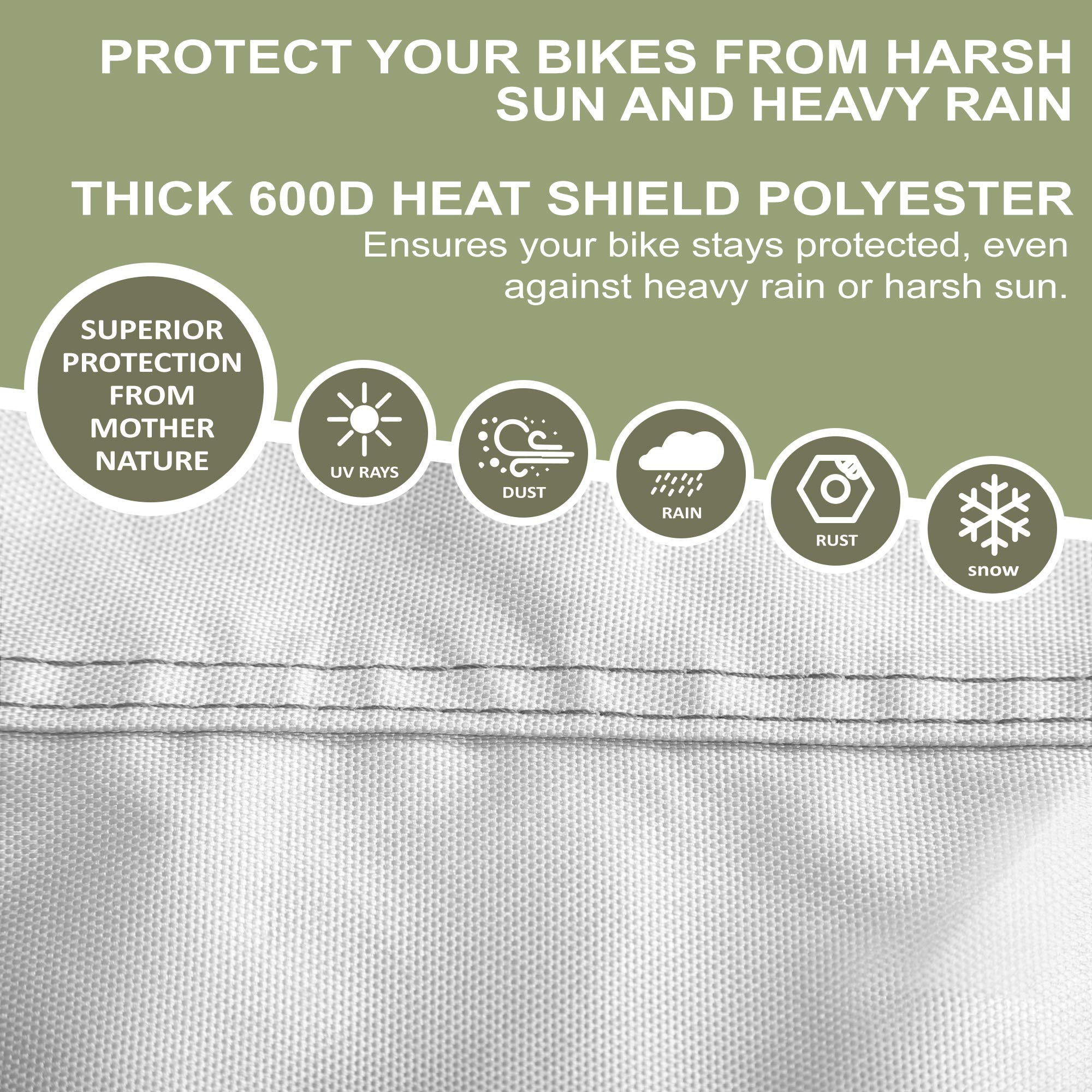 YardStash Bicycle Cover XL: Extra Large Size for Beach Cruiser Cover, 29er Mountain Bike Cover, Electric Bike Cover, Multiple Kids' Bike Cover and Cover for Bikes with Baskets, Child Seats or Racks by YardStash (Image #5)