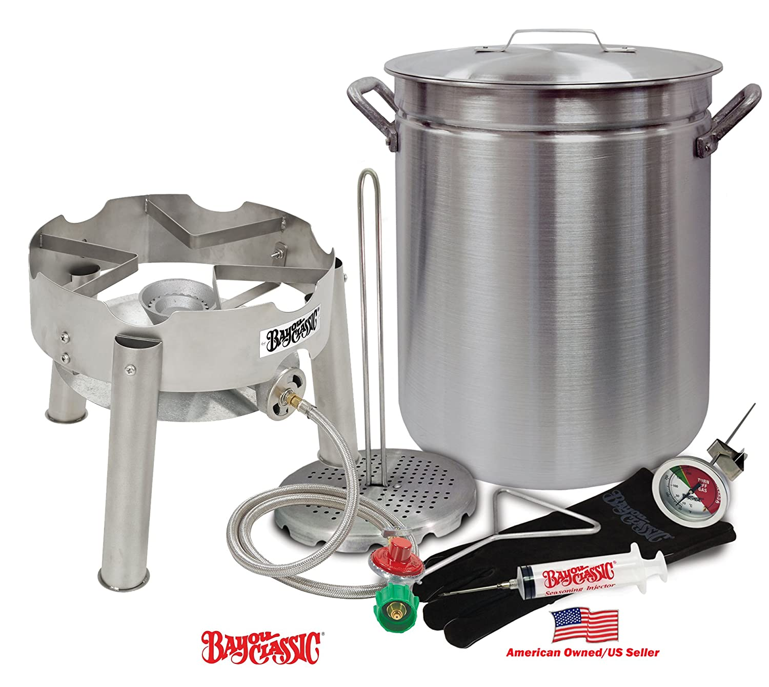 LBS Turkeys With Low Profile Stainless Steel Burner by Bayou Classic Deep Fryer Kit 42 Quart Aluminum GRAND GOBBLER for 25