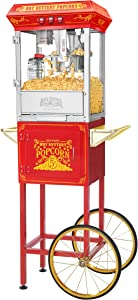 5815 Great Northern Popcorn Red Good Time Popcorn Popper Machine Cart, 8 Ounce