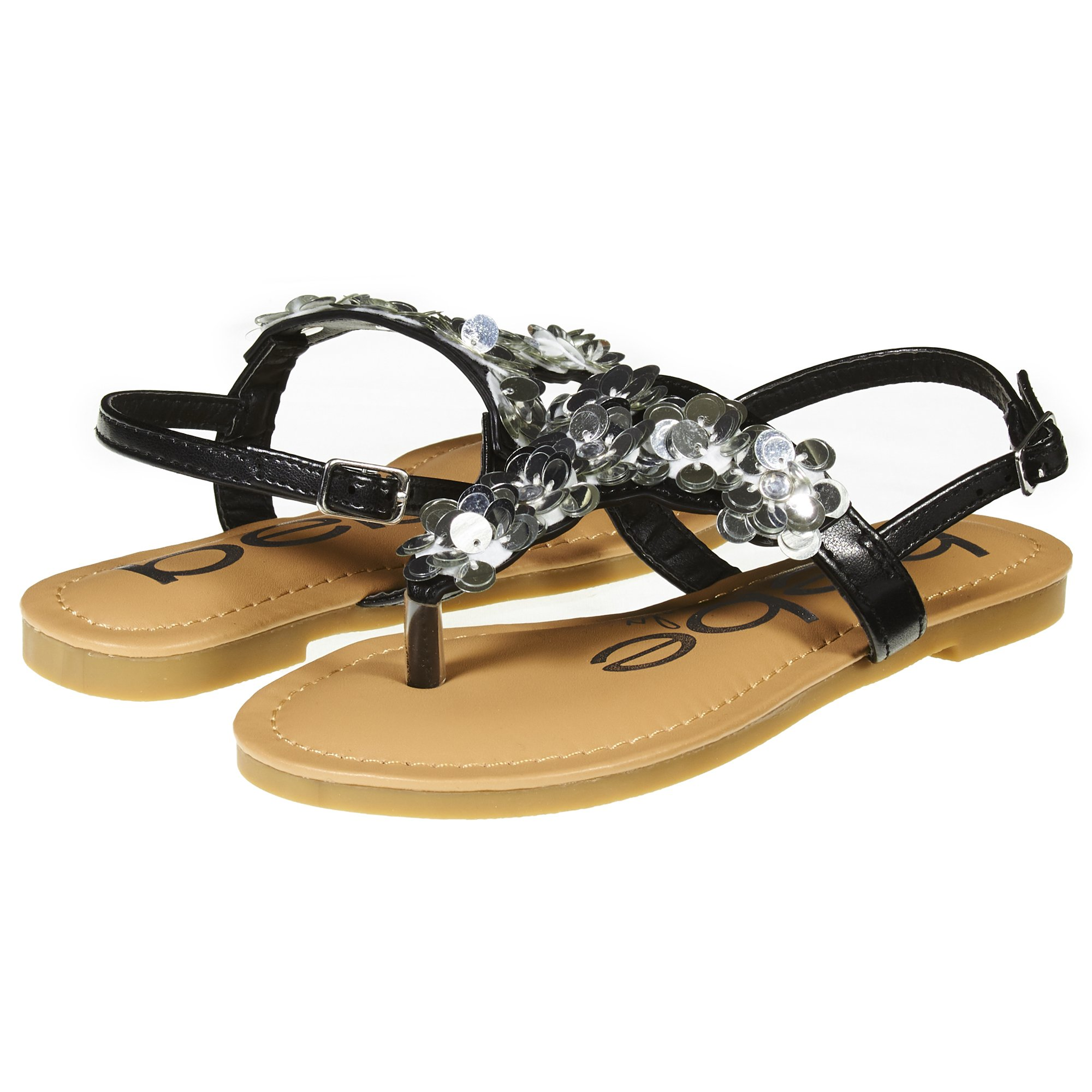 bebe Girls Big Kid Summer Flat Slingback Sandals T Strap Thong Shoes with Flowers Size 11 Black/Silver