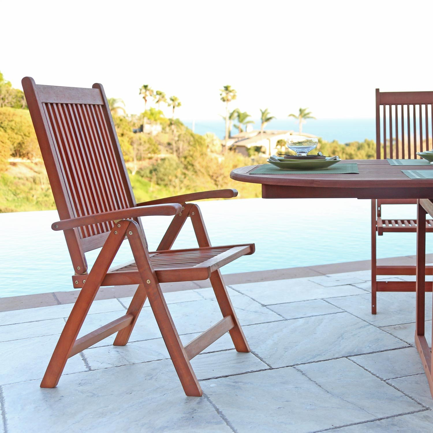 Amazon VIFAH V144SET2 Outdoor Wood 9 Piece Dining Set with