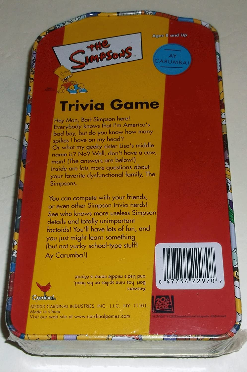 The Simpsons Trivia Game in Collectors Tin