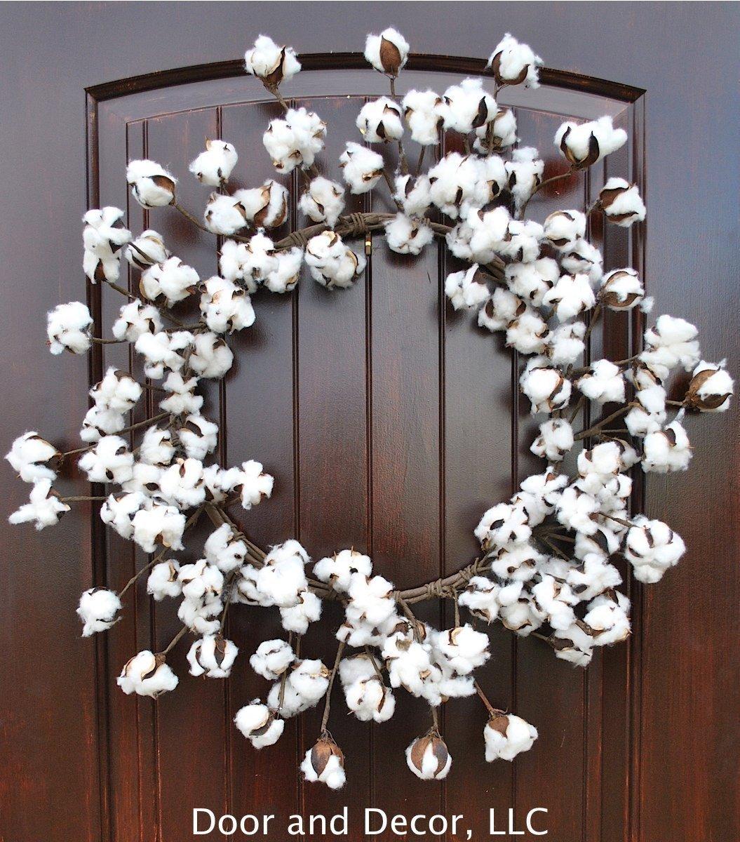 Amazon Com Cotton Wreath With Real Preserved Bolls On Flexible Stems 22 26 Dia 4 Deep Rustic Farmhouse Decor Handmade